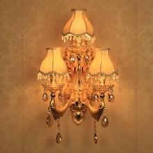 Европейский рядом лампы настенный светильник кристалл гостиной настенные лампы золото свечи бра романтическая бра спальня огни