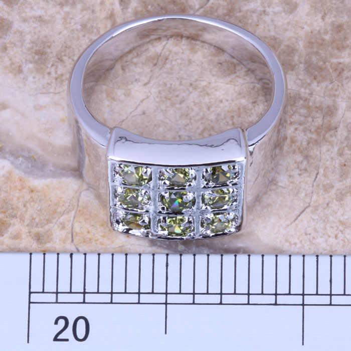 ที่โดดเด่นสีเขียวPeridotเงินประทับ925สตรีแหวนขนาด6/7/8/9 R0906