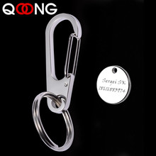 QOONG 2019 Custom Lettering High-Grade Stainless Steel Men Keychain Bag Charms Pendant Car Key Chain Ring Holder Jewelry Y42