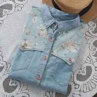 Mferlier Mori Girl Autumn Denim Woman Shirt Floral Patchwork Jeans Blouse Long Sleeve Blouse Femme Plus
