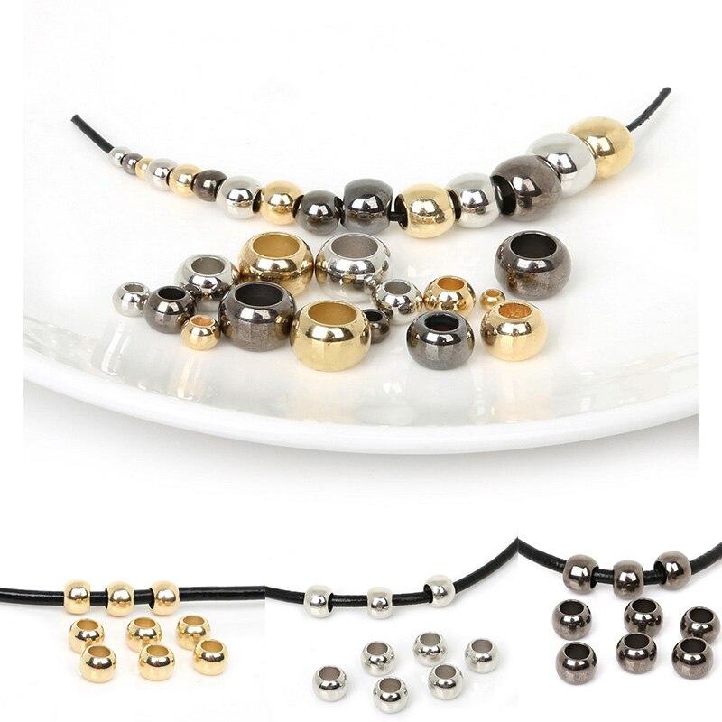 50pcs 8 mm Tibet Style gros trou breloques Plaqué Argent Spacer Gear Beads Findings
