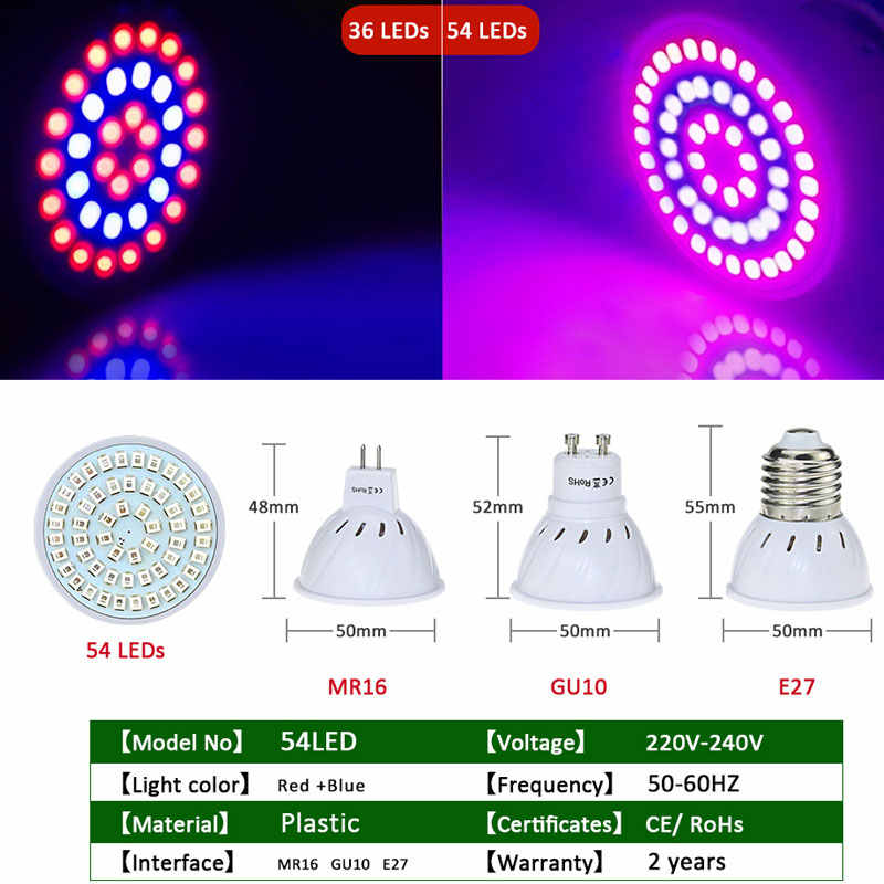 Espectro completo E27 220V GU10 MR16 lámpara LED Phyto IR UV planta crece la bombilla Fitolampy para plantas de jardín interior flores hidropónicas