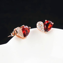 hot sale romantic hearted-shape white rose gold color 925 sterling silver natural red garnet stud earrings for women