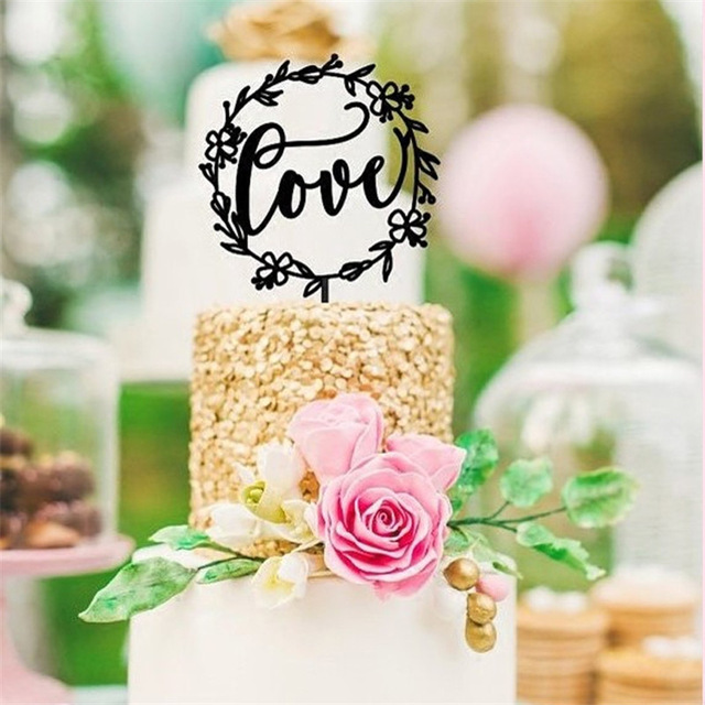 Us 0 34 20 Off 1pcs Black Love Wedding Cake Topper Diy Wedding Birthday Party Decoration Baby Shower Supplies In Cake Decorating Supplies From Home