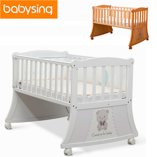100% Imported Pine Newborn Baby Ivory Solid Crib Baby Detachable Game Crib  Rocking Bed Bedding