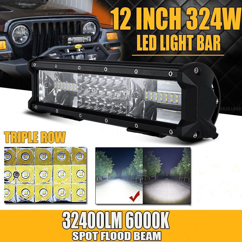 Tri-row 12inch 324W CREE Chips LED Light Bar Offroad Led Work Lamp Bar Spot Flood Beam for 12v 24v Truck SUV ATV 4x4 4WD weisiji 1pcs tri row 252w led light bar with high intensity chips 17inch offroad work light for jeep ford truck ship suv atv utv
