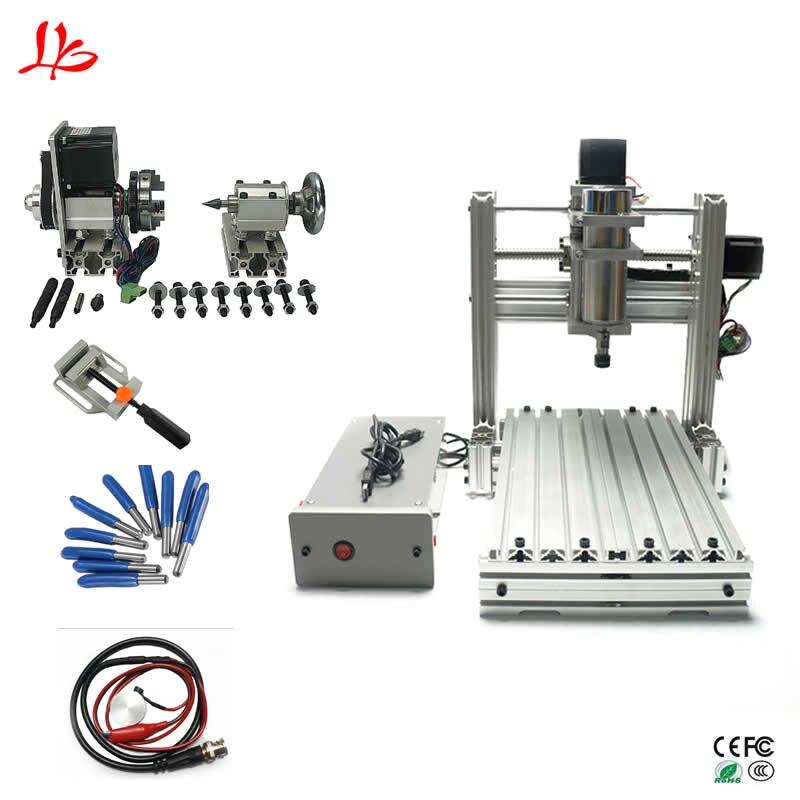 4axis cnc 3020 engraving machine wood router DIY CNC ball screw USB port aluminum frame
