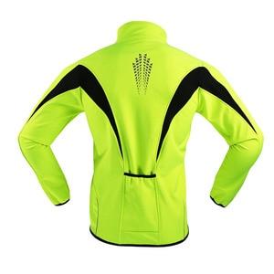 Image 2 - ARSUXEO Mens Winter Cycling Jacket Fleece Bike Jersey Windproof Waterproof Soft shell Coat MTB Bicycle Clothing Reflective 15K