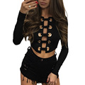 2017 Sexy Lace Up Negro Blusa Camisas de Manga Larga Delantera Corta Remache Blusas Mujeres Night Club Femme Tops