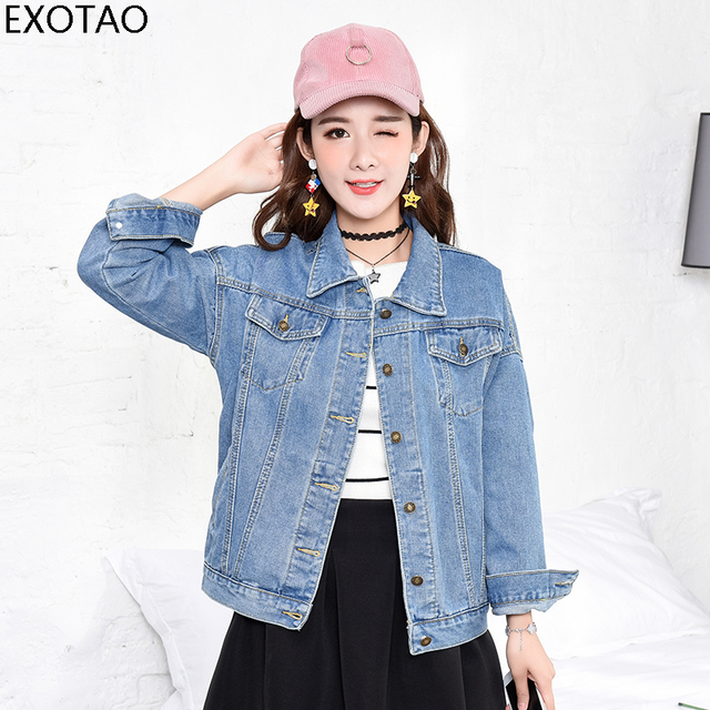 0c9f0fec7cdf7 EXOTAO Jeans Jacket Women 2017 New Basic Long Sleeves Casual Denim Female  Outwear Oversized Loose Autumn