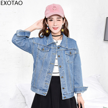 EXOTAO Jeans Jacket Women 2019 New Basic Long Sleeves Casual Denim Female Korean Oversized Loose Autumn Boyfriend Abrigo Mujer