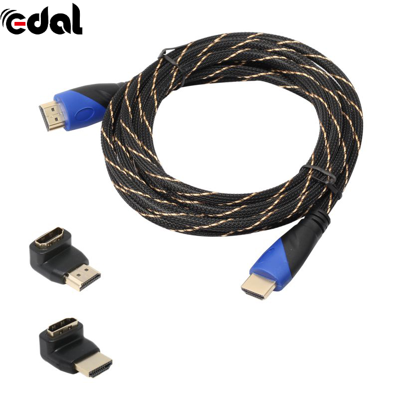1.5FT-30FT Braided V1.4 HDMI Cable+HDMI Adapter HD 3D for Xbox PS3 1080P HDTV Length 0.5M-10M