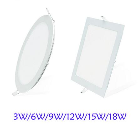 Ultra Thin Led Panel Downlight 3w 6w 9w 12w 15w 18w Round/Square LED Ceiling Recessed Light AC85-265V LED Panel Light SMD2835 led panel 300mm 300mm 18w edge lit super bright ultra thin glare free