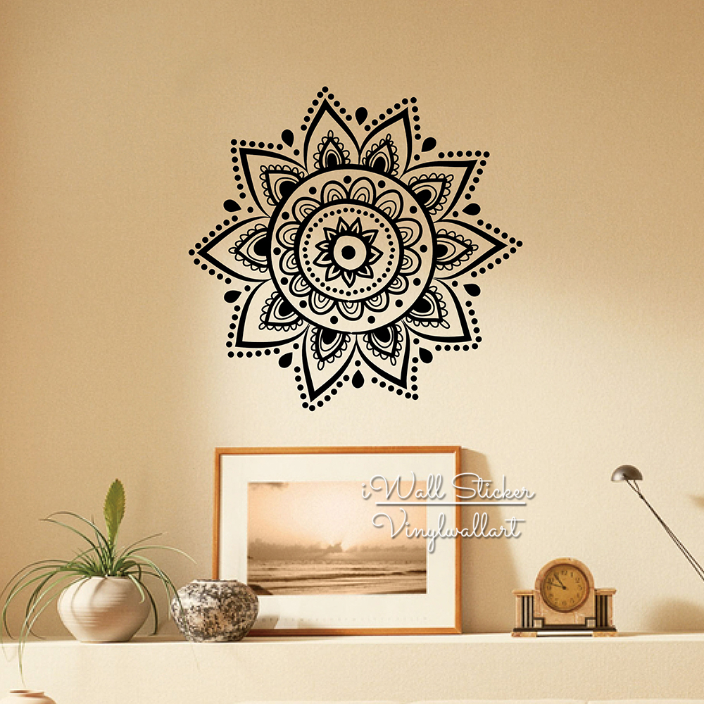 Mandala wall sticker modern yoga wall decal diy indian wall decors removable easy wall art cut vinyl stickers m35