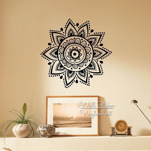 Mandala Wall Sticker Modern Yoga Wall Decal DIY Indian Wall Decors  Removable Easy Wall Art Cut