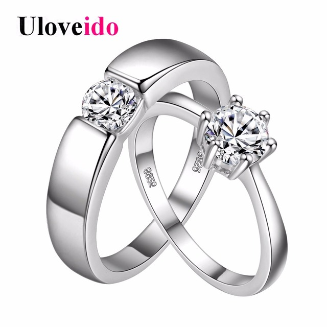 2 Pcs Crystal Jewelry 30 Off Engagement Ring for Men Women Wedding