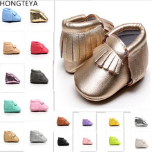 Hongteya New arrived cute Newborn toddler baby moccasins Pu leather Anti-slip fi