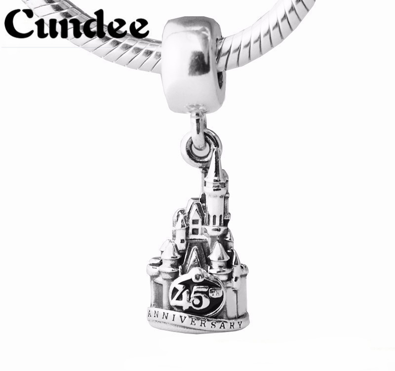 45th Anniversary Disny Castle Dangle Beads Fit pandora Charms Silver 925 Original Bracelet Fashion DIY Jewelry Making for Women strollgirl silver 925 bat growing charms pendant beads fit original pandora bracelet diy fashion jewelry making for women gifts