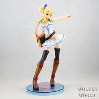 Huong Anime Figura 23 CM Fairy Tail Lucy Heartphilia com vestido branco PVC Action Figure Toy Model Collection