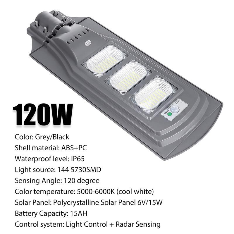 120 W lampe solaire mur lampadaires extérieur capteur de mouvement contrôle de la lumière + Radar détection de sécurité pour jardin Yard étanche