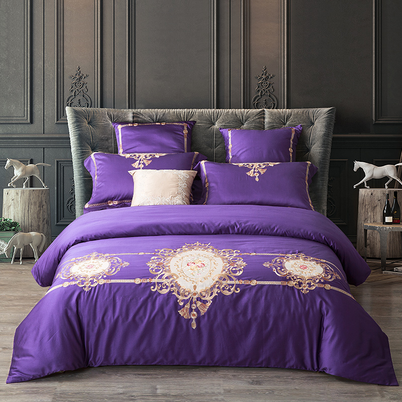 100% Cotton purple Embroidery Palace Royal Luxury Bedding Set 4/Pcs King Queen Size Hotel Bed set Duvet Cover Bed Sheet100% Cotton purple Embroidery Palace Royal Luxury Bedding Set 4/Pcs King Queen Size Hotel Bed set Duvet Cover Bed Sheet