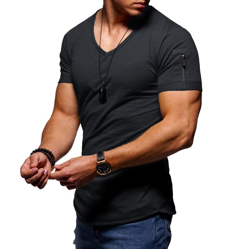ALI shop ...  ... 32995233403 ... 1 ... 2020 fashion men's T-shirt Slim custom T-shirt brand design fashion luxury V-neck fitness casual T-shirt arm zipper T-shirt men ...