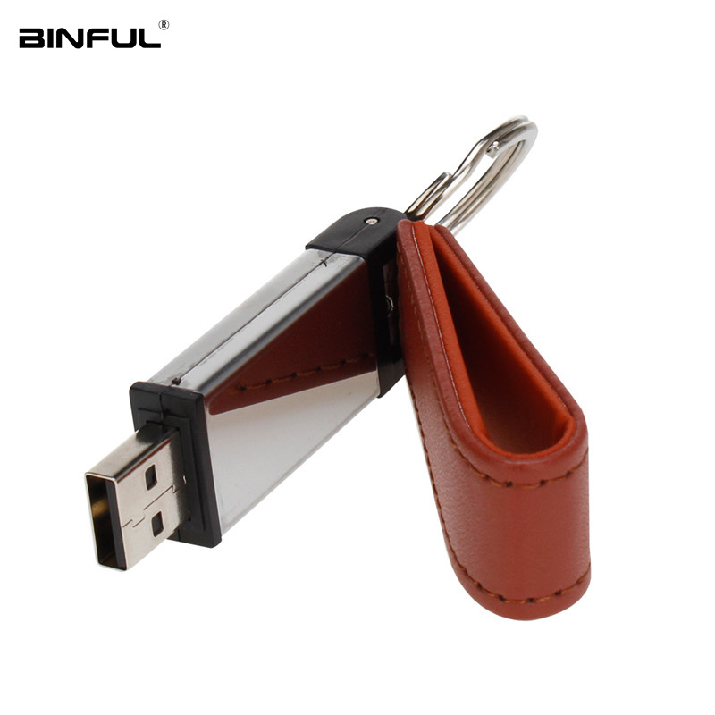 Image 2 - Usb Stick 32GB Pen Drive Leather Metal Keychain Usb Flash Drive 16GB 64GB 128G 4G 8G Pendrive High Speed U Disk Free Custom Logo-in USB Flash Drives from Computer & Office