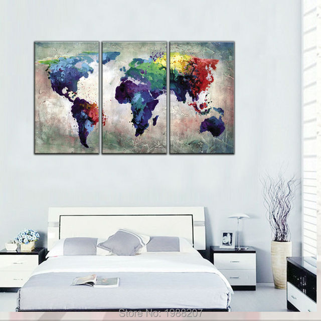 3 panles abstract color map canvas paintings world map pictures 3 panles abstract color map canvas paintings world map pictures prints on canvas no frame wall gumiabroncs Gallery