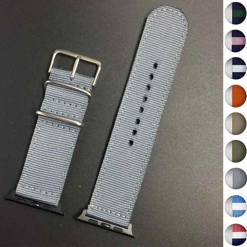 2018 Black buckle Hot sale Nylon strap for Apple Watch Band Series 3/2/1 sport leather bracelet 42mm 38mm strap for iwatch band leather double buckle cuff band for apple watch 38mm 42mm strap bracelet
