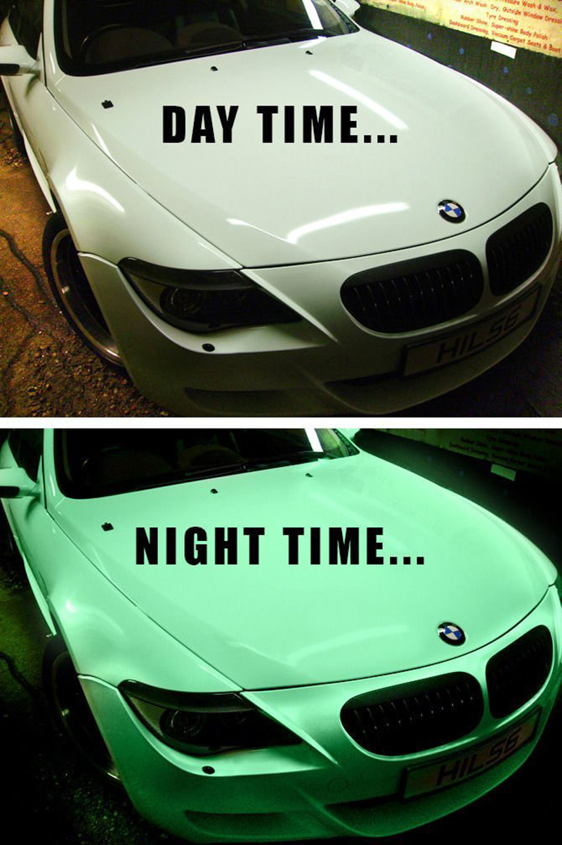 60x20/1.52x0.5m Car Styling Luminous Glow in the dark Green/Blue Car Wrap Vinyl with Air Bubble free