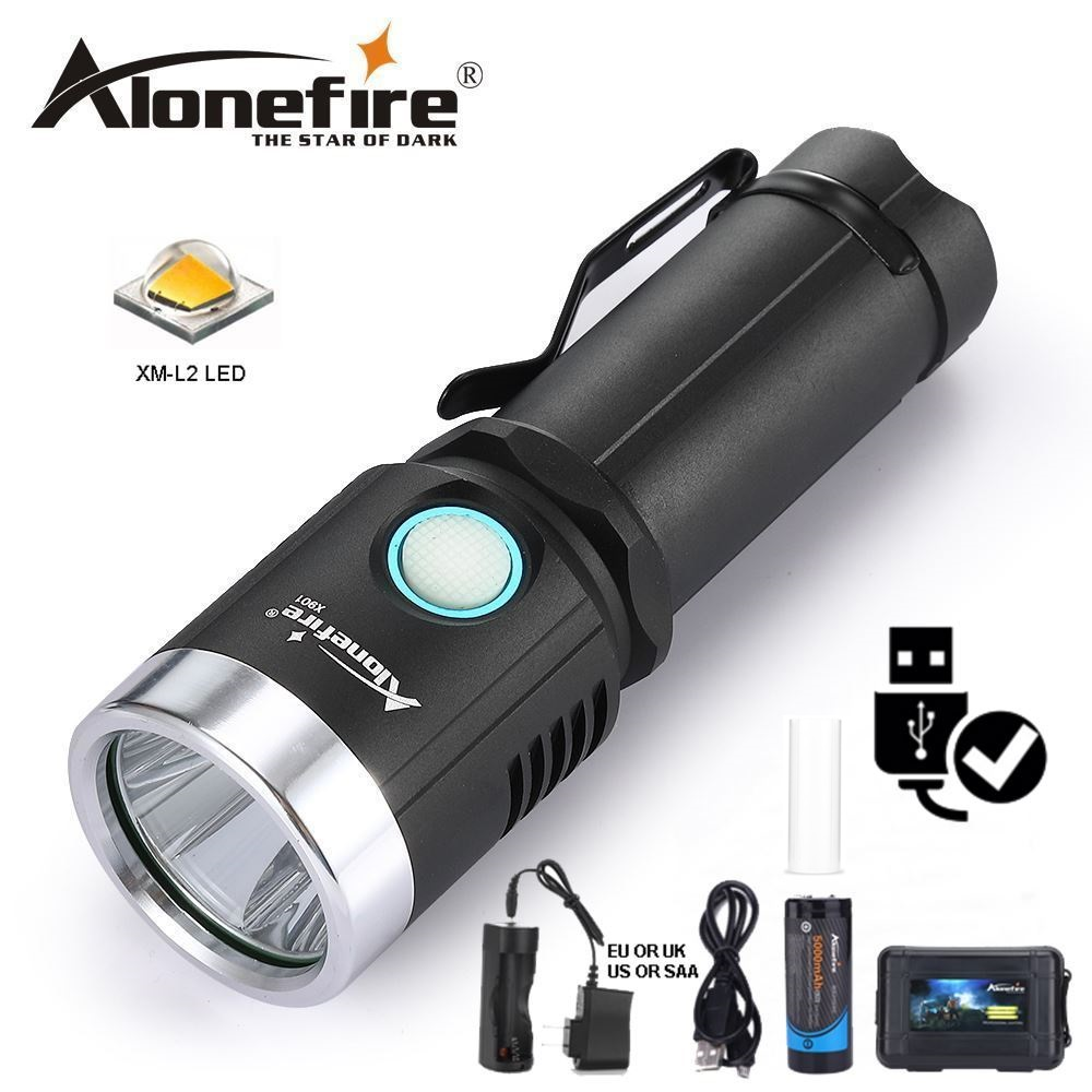 AloneFire X901 usb led flashlight 26650 rechargeable cree xml L2 fill light Flashlight LED Torch Ultra Bright Water Resistant ultra bright tactical flashlight usb rechargeable 26650 16340 battery xml t6 led torch for camping security emergency use