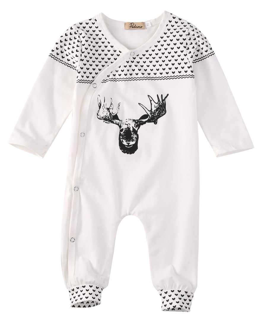 Super Cute Babies Cotton Deer Long Romper Kids Baby Girl Boy One-piece Romper Playsuit Outfits XMAS Pajamas Sleepwear Clothing