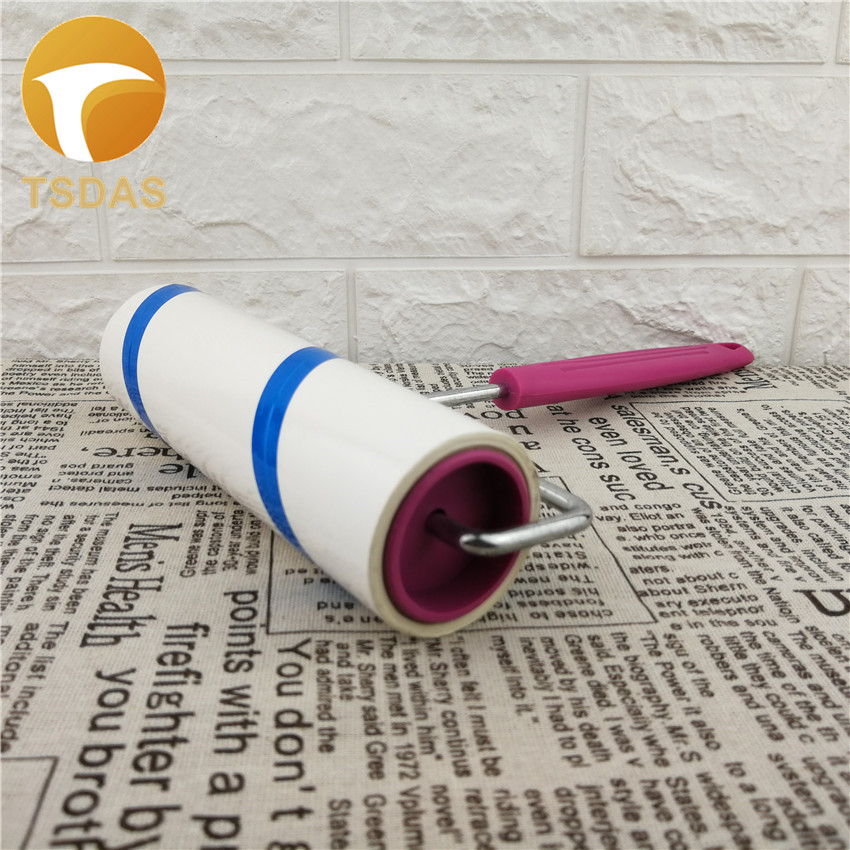 1pc Sticky Lint Roller + 1pc Plastic Handle Dust Pet Hair Remover Cleaning Brush for Pet Cloth Furniture