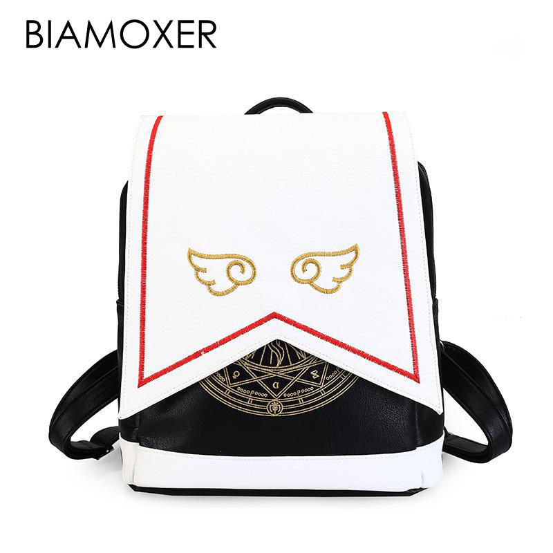 Japanese Comic Card Captor Sakura Wings Schoold Backpack Magical Card girl sakura Cosplay Backpack Sakura Wings bag