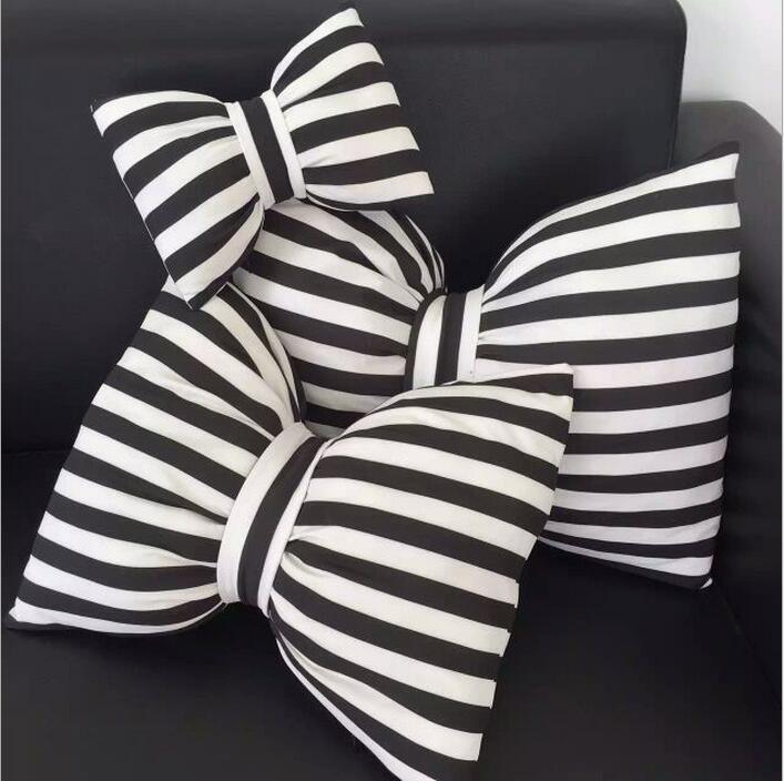 Printed Black And White Stripe Pillow