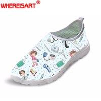 WHEREISART Cute Nurse Pattern Women Spring Summer Flats Shoes 3D Cartoon Nursing Bear Light Mesh Shoes Woman Beach Loafers Girl