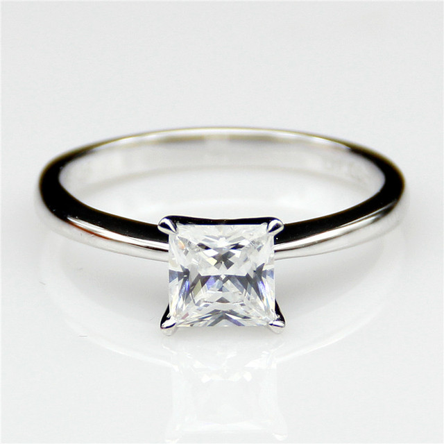 LASAMERO Princess Cut 1CT 4 Prongs Solitaire ASCD Simulated Diamond Plated Platinum Fine Jewelry Engagement Wedding Rings