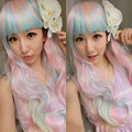 68 cm Harajuku Cosplay Lolita Wig Anime Sexy Costume Party Long Ombre Pink Blue Beige Synthetic Hair Wigs Peruca Peruke