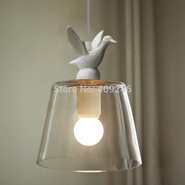 Retro White Bird duck  American country glass chandelier Droplight Ceiling lamp E27