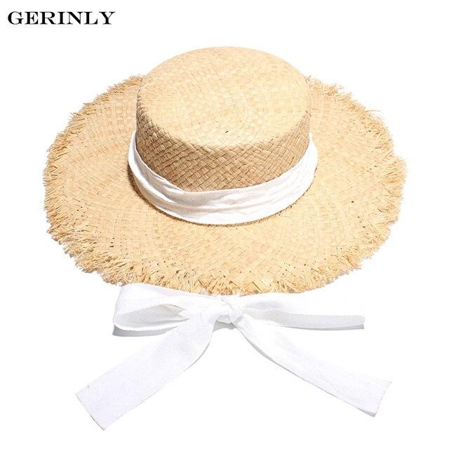 GERINLY Brand Women s Sun Hats High Quality Raffia Straw Summer Hat New  Flat Top Wide Brim 37197d425de