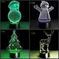 Criativo 3D USB lâmpada 7 cores mutáveis 5 V luz chrismas árvore chrismas cervos do boneco de neve LEVOU decoração da lâmpada de mesa de toque botão
