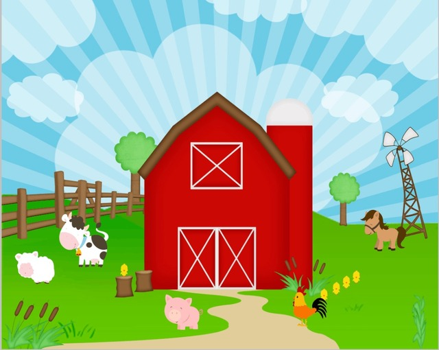 7x5FT Farm Red Barn Cottage Animals Green Barnyard Wooden Fence Custom Photo Studio Backdrop Background Vinyl