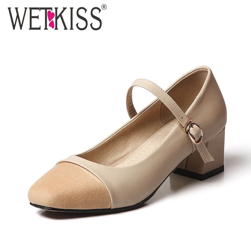 WETKISS 2018 Brand High Heels Women Pumps Mary Jane Stitching Buckle Strap Square Heels Footwear New Spring Fashion Ladies Shoes xiaying smile woman pumps shoes women mary janes british style fashion new elegant spring square heels buckle strap rubber shoe