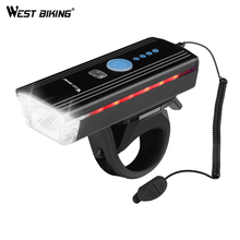 WEST BIKING 1200mAh Waterproof Bicycle Light 300Lum 3 Mods Hand Touch Cycling LED Flashlight Front With Bike Horn