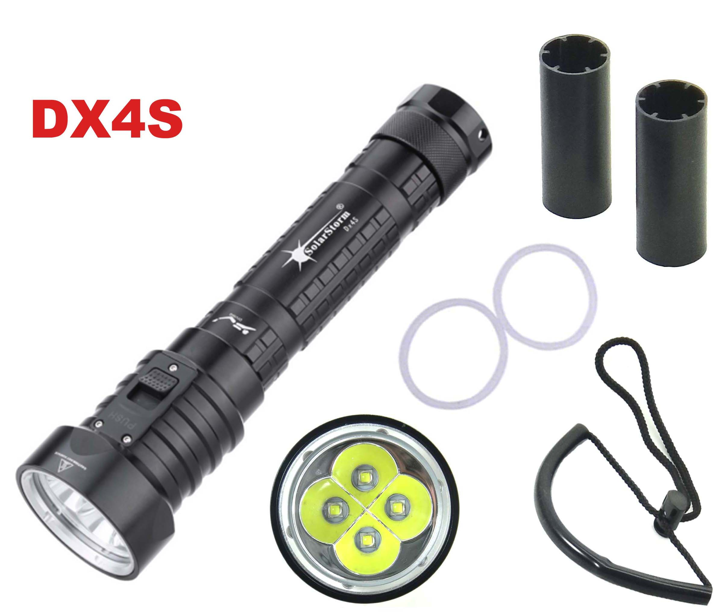 Solarstorm DX4S LED Diving Flashlight 4x CREE L2 4L2 Underwater 18650 26650 Torch Brightness Waterproof 100m Light Led Torch scuba diving flashlight dx4s underwater hunting torch waterproof dive lamp 4x cree xm l2 white light 18650 26650 led torch