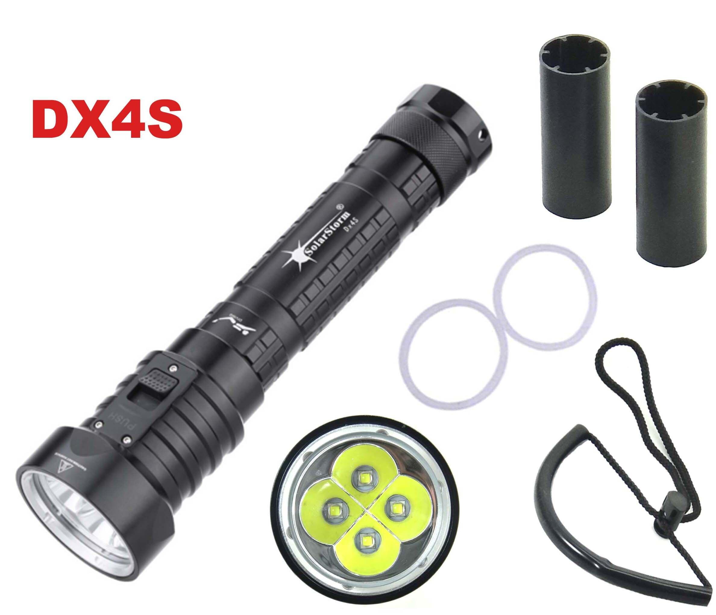 Solarstorm DX4S LED Tauchen Taschenlampe 4x CREE L2 4L2 Unterwasser 18650 26650 Taschenlampe Helligkeit Wasserdichte 100 m Licht Led Taschenlampe