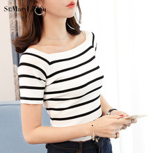 2017 New Fashion Women T-shirts Tee striped short sleeve Loose white Slash neck t shirts Stretch Summer Casual Knitted shirt