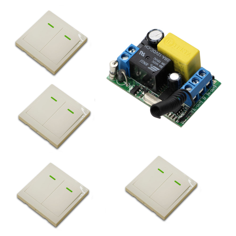 AC 220V Wireless Remote Switch Hall Bedroom Ceiling Lights Switch 1CH Relay Receiver + 4Pcs Wall Panel Remote Transmitter 4 relay ch wireless receiver