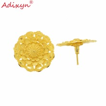 Adixyn India Gold Color Trendy Jewelry Light Weight Stud Earrings For Women/Girls Party/Birthday Gifts N022011 цены онлайн