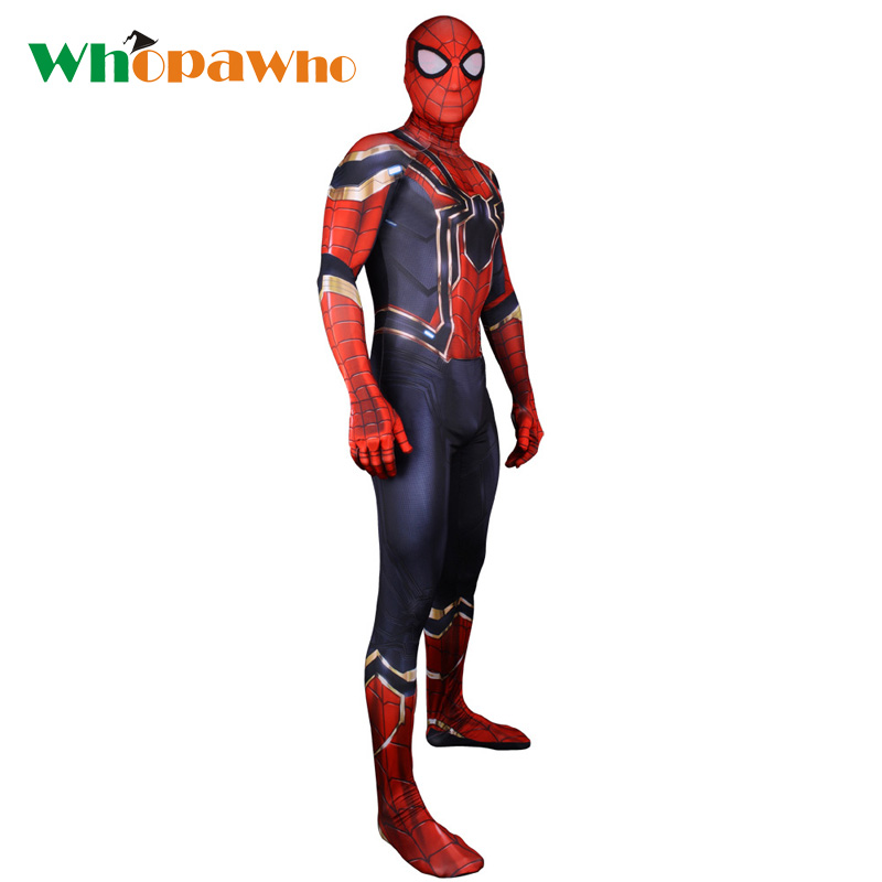 2018 Spider man Skin Tight Bodysuit Costume Spandex Zentai Halloween Superhero Costume for Men Fancy Dress